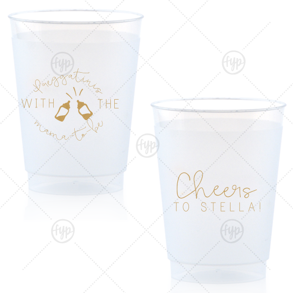 Preggatini Frost Flex Cup | Personalized Gold Ink 9 oz Frost Flex Cup with Gold Ink Screen Print has a Baby Bottles graphic and is good for use in Baby Shower themed parties and couldn't be more perfect. It's time to show off your impeccable taste.