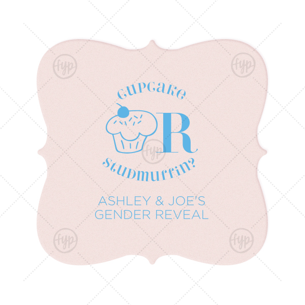 Cupcake or Studmuffin Coaster | Our personalized Blush with Kraft back Nouveau Coaster with Matte Azure Foil Color has a Kid Cupcake graphic and is good for use in Kid Birthday, Food, Birthday themed parties and will impress guests like no other. Make this party unforgettable.