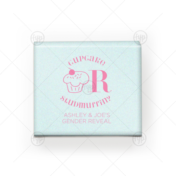 Gender Reveal Mini Cupcake Box | Custom Stardream Aqua Truffle Box with Matte Ballet Pink Foil Color has a Kid Cupcake graphic and is good for use in Kid Birthday, Food, Birthday themed parties and can't be beat. Showcase your style in every detail of your party's theme!
