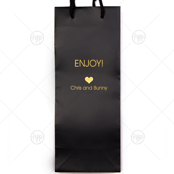 Enjoy Wine Bag | Custom Black Wine Euro Bag with Shiny 18 Kt Gold Foil has a Heart Solid graphic and is good for use in Love, Wedding themed parties and will add that special attention to detail that cannot be overlooked.