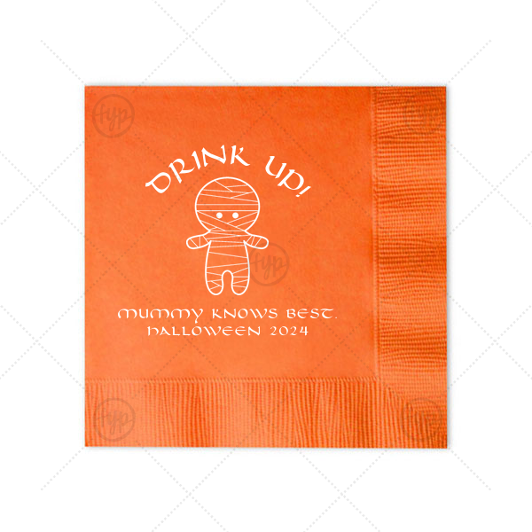 Mummy Knows Best Napkin | ForYourParty's personalized Tangerine Cocktail Napkin with Matte White Foil Color has a Mummy graphic and is good for use in Halloween themed parties and will give your party the personalized touch every host desires.