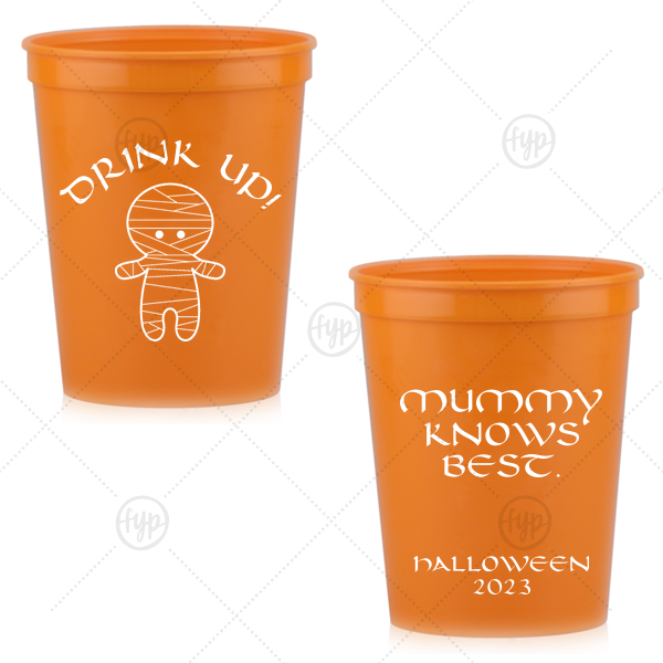 Mummy Knows Best Cup | Custom Orange 16 oz Stadium Cup with Matte White Ink Ink Color has a Mummy graphic and is good for use in Halloween themed parties and will add that special attention to detail that cannot be overlooked.