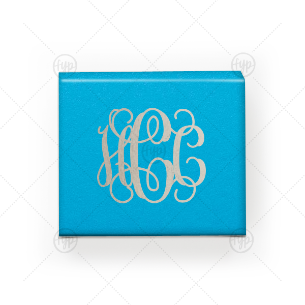 Vine Monogram Box | Our custom Poptone Dark Turquoise Rectangle Box with a Shiny Sterling Silver Foil Monogram will add that special attention to detail that cannot be overlooked.