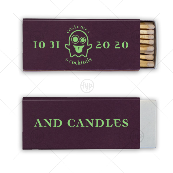 ForYourParty's elegant Natural Amethyst Candle Matchbox with Matte Key Lime Foil Color has a Ghost 2 graphic and is good for use in Halloween themed parties and can be personalized to match your party's exact theme and tempo.
