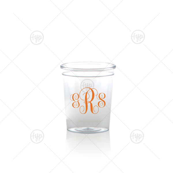 Classic Monogram Shot Glass | Our custom Matte Tangerine Ink Plastic Shot Glass with Matte Tangerine Ink Print Color can be customized to complement every last detail of your party.