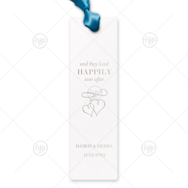 Custom Natural Amethyst Rectangle Bookmark with Satin Copper Penny Foil has a Flourish Hearts graphic and is good for use in Wedding, Hearts themed parties and will impress guests like no other. Make this party unforgettable.