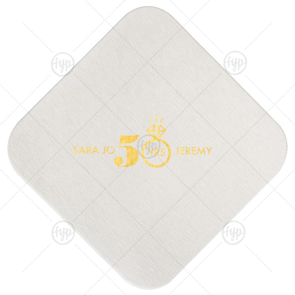 Diamond Ring Anniversary Coaster | ForYourParty's chic Eggshell Square Coaster with Shiny 18 Kt Gold Foil Color has a Diamond Ring graphic and is good for use in Wedding themed parties and are a must-have for your next event—whatever the celebration!