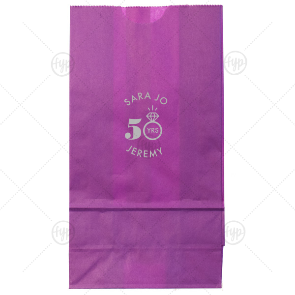 Diamond Ring Anniversary Bag | The ever-popular White Goodie Bag with Shiny 18 Kt Gold Foil Color has a Diamond Ring graphic and is good for use in Anniversary themed parties and can be personalized to match your party's exact theme and tempo.
