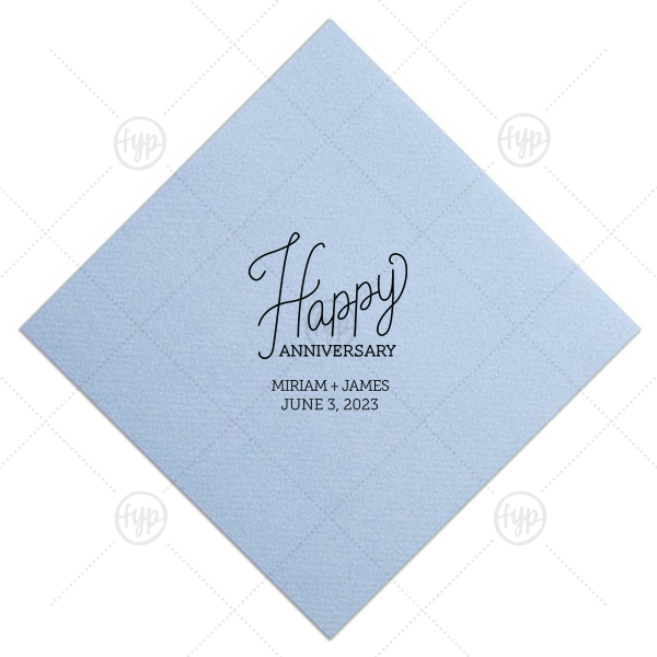Personalize this cursive Happy Anniversary graphic for a gorgeous detail on your bar or dessert table. Stick with the Powder Blue and Matte Black or choose colors to match your theme. Add your names and wedding date for a personal touch.