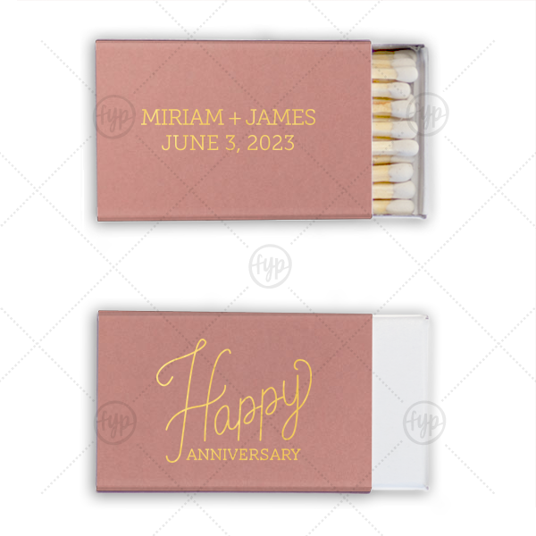 Cursive Happy Anniversary Match | ForYourParty's personalized Stardream Sky Blue Classic Matchbox with Satin 18 Kt. Gold Foil Color has a Happy Anniversary 2 graphic and is good for use in Words themed parties and can be customized to complement every last detail of your party.