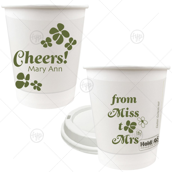 ForYourParty's chic Matte Army Green Ink 8 oz Paper Coffee Cup with Lid with Matte Army Green Ink Cup Ink Colors can be personalized to match your party's exact theme and tempo.
