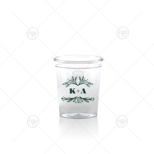 Rustic Leaf Frame Shot Glass | ForYourParty's chic Matte Spruce Plastic Shot Glass with Matte Spruce Print Color has a Rustic Leaf Frame graphic and is good for use in Frames themed parties and can be customized to complement every last detail of your party.