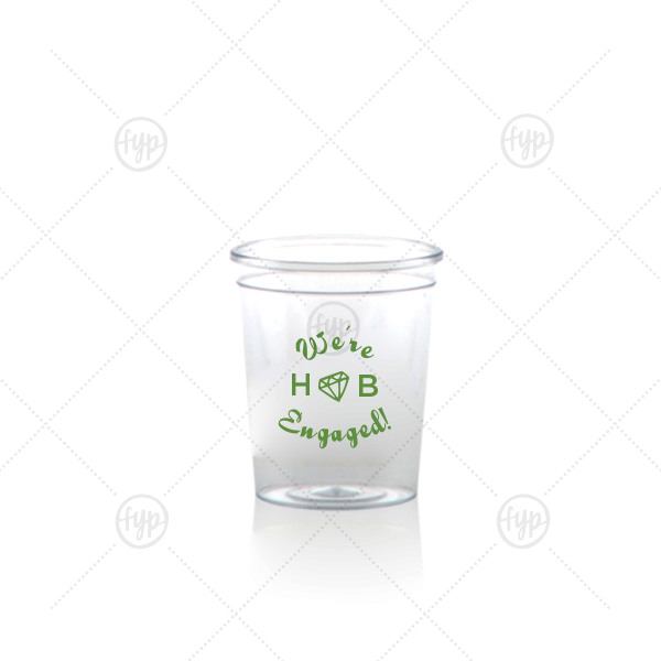Diamond Shot Glass | Our beautiful custom Matte Moss Green Ink Plastic Shot Glass with Matte Moss Green Ink Print Color has a Diamond graphic and is good for use in Wedding themed parties and will impress guests like no other. Make this party unforgettable.