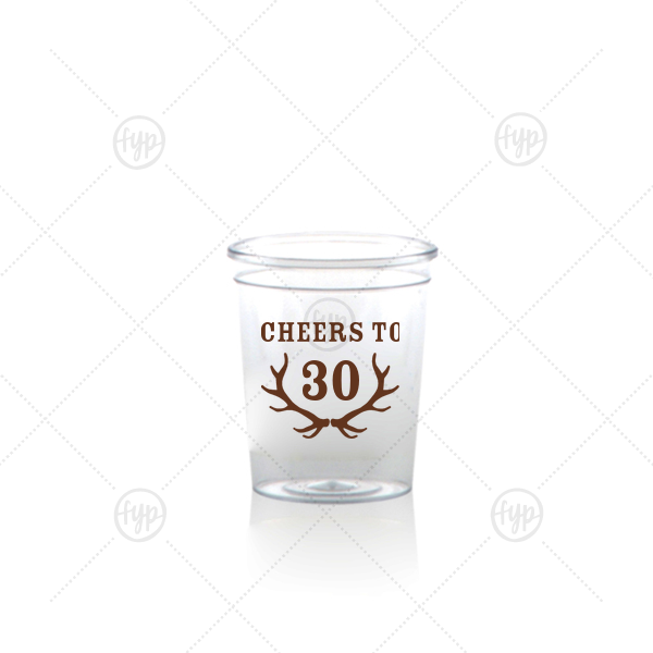 Antler Shot Glass | The ever-popular Matte Chocolate Ink Plastic Shot Glass with Matte Chocolate Ink Print Color has a Antlers graphic and is good for use in Animals themed parties and will look fabulous with your unique touch. Your guests will agree!