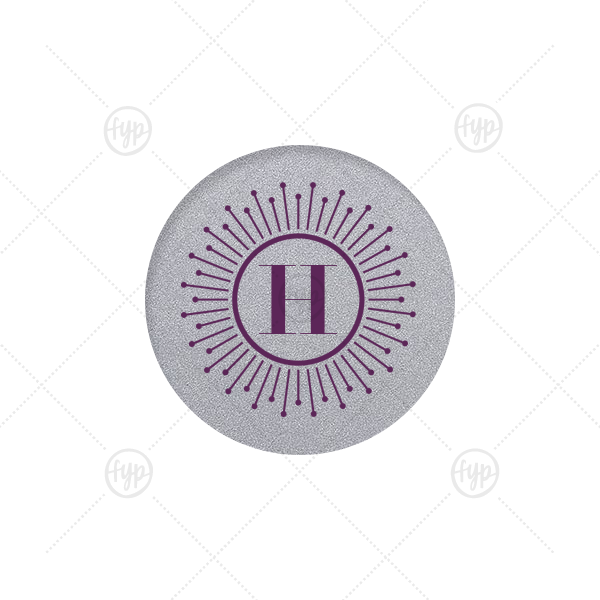 Burst Initial Label | Our beautiful custom Classic Crest Ivory Round Label with Matte Eggplant Ink Digital Print Colors has a sunburst frame graphic and is good for use in personal correspondence, birthdays and special occasions.