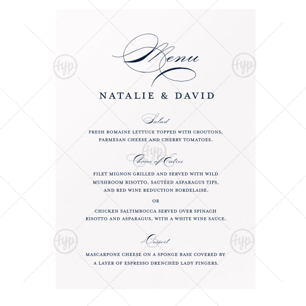 ForYourParty's personalized Natural Frost White Classic Menu with Matte Navy Foil will make your guests swoon. Personalize your party's theme today.