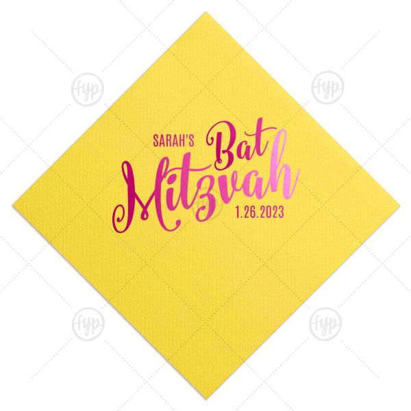 Mitzvah Fun Script Napkin | Make her Bat Mitzvah special with customized napkins! Add the Bat Mitzvah girl's name and date for a personal touch. This Lemon napkin with Shiny Fuschia foil can be customized to complement every last detail of your party.