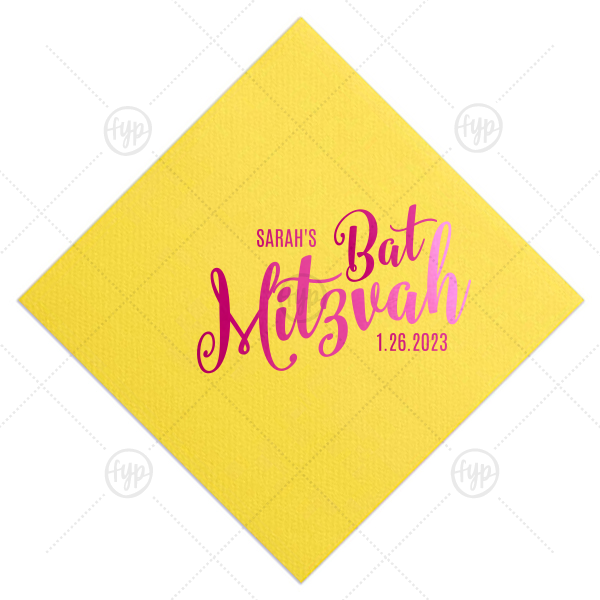 Make her Bat Mitzvah special with customized napkins! Add the Bat Mitzvah girl's name and date for a personal touch. This Lemon napkin with Shiny Fuschia foil can be customized to complement every last detail of your party.