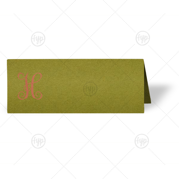 Ornate Initial Place Card | Our custom Poptone Dark Olive Runway Place Card with Satin Copper Penny Foil will make your guests swoon. Personalize your party's theme today.