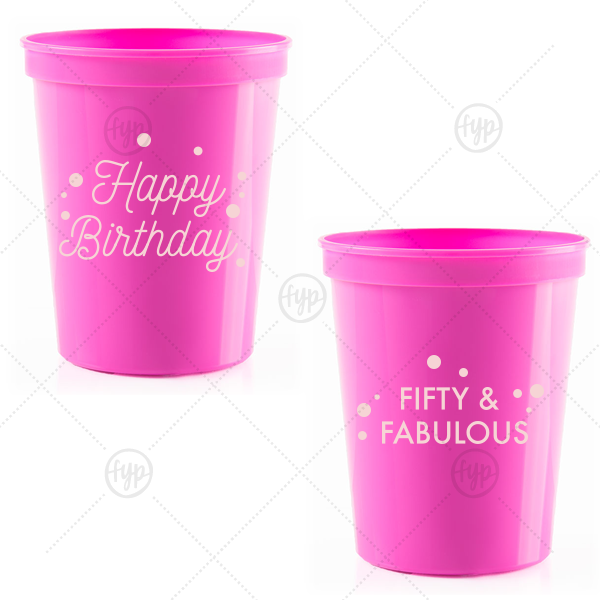 Happy Birthday Confetti Stadium Cup | The ever-popular Hot Pink 16 oz Stadium Cup with Matte Blush Ink Cup Ink Colors can be customized to complement every last detail of your party.