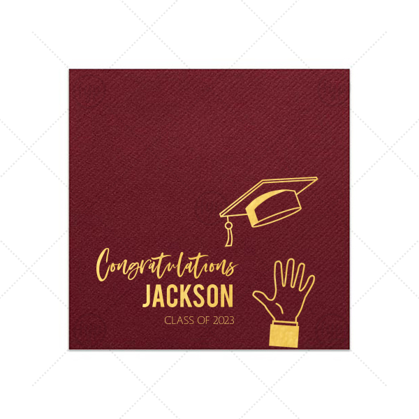 Personalized Merlot Cocktail Napkins with Bleed with Shiny 18 Kt Gold Foil has a Grad Cap Toss graphic and is good for use in Graduation themed parties and will impress guests like no other. Make this party unforgettable.