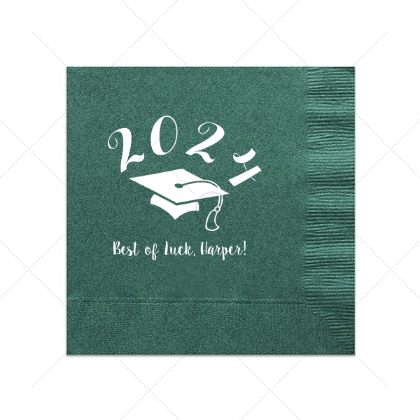 Good Luck Grad Napkin | Personalized Leaf Cocktail Napkin with Matte White Foil Color has a Cap graphic and is good for use in Graduation themed parties and can't be beat. Showcase your style in every detail of your party's theme!