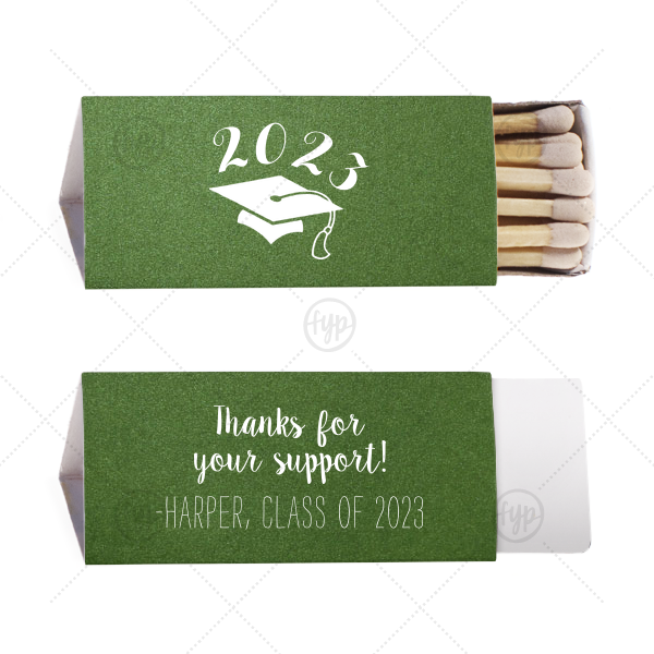 Thank You Grad Match | Our custom Stardream Leaf Triangle Matchbox with Matte White Foil Color has a Cap graphic and is good for use in Graduation themed parties and will give your party the personalized touch every host desires.