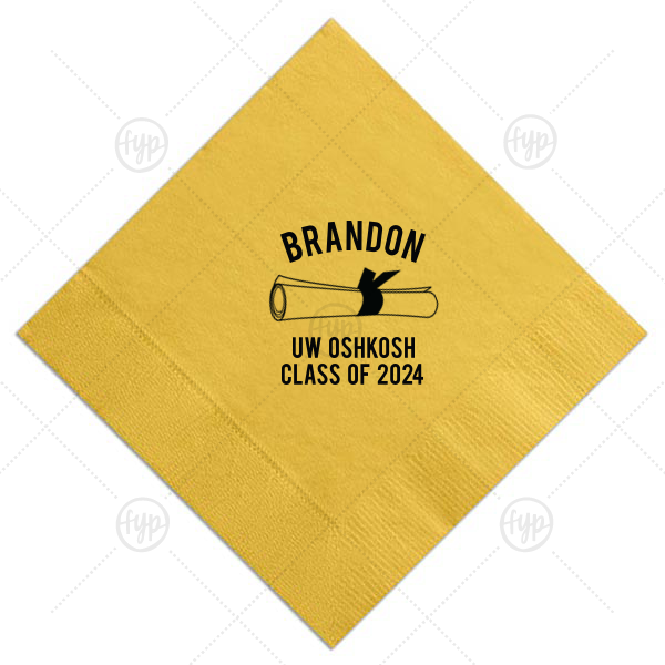 Diploma Napkin | Our custom Sunflower Cocktail Napkin with Matte Black Foil Color has a Graduation Scroll graphic and is good for use in Graduation themed parties and are a must-have for your next event—whatever the celebration!