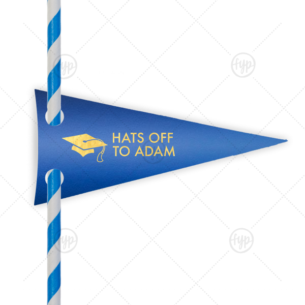 Graduation Cap Straw Tag | Our personalized Shiny True Blue Pennant Straw Tag with Shiny 18 Kt Gold Foil Color has a Cap graphic and is good for use in Graduation themed parties and are a must-have for your next event—whatever the celebration!