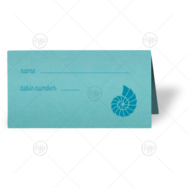 Shell Place Card | Our custom Poptone Tiffany Blue Classic Place Card with Satin Teal / Peacock Foil has a Shell 3 graphic and is good for use in Beach/Nautical themed parties and will look fabulous with your unique touch. Your guests will agree!