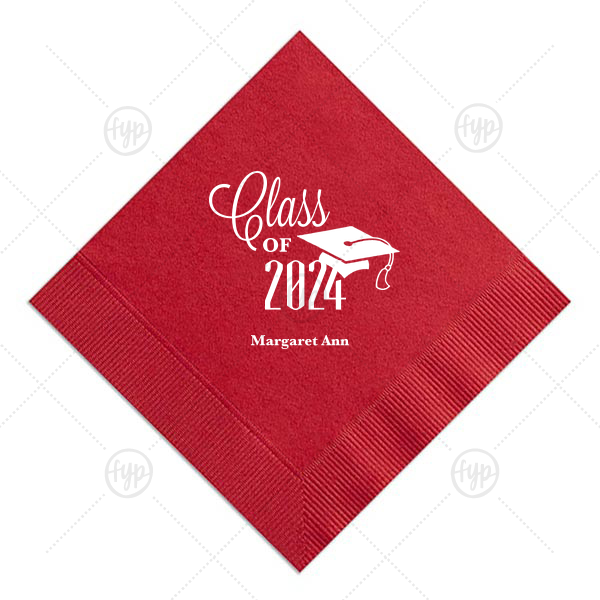 Class of Graduation Cap Napkin | ForYourParty's elegant Convertible Red Cocktail Napkin with Matte White Foil Color has a Cap graphic and is good for use in Graduation themed parties and can be customized to complement every last detail of your party.
