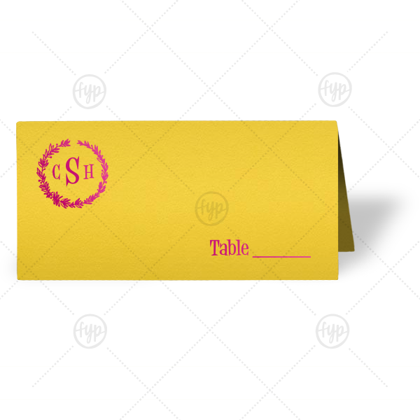 Monogram Wreath Place Card | The ever-popular Poptone Yellow Euro Place Card with Shiny Fuchsia Foil has a Leaf Frame 4 graphic and is good for use in Rustic themed parties and can be personalized to match your party's exact theme and tempo.
