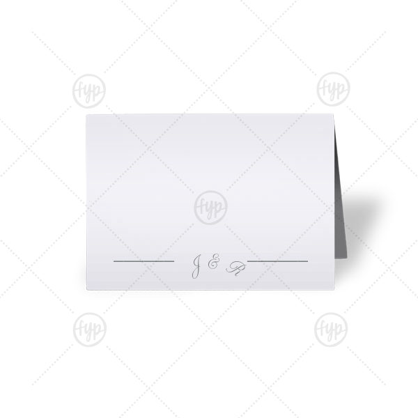 Initial Break Place Card | Personalized Natural Frost White Cordial Place Card with Matte Slate Gray Foil will impress guests like no other. Make this party unforgettable.