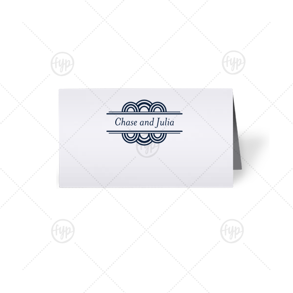 Deco Place Card | ForYourParty's chic Natural Frost White Signature Place Card with Matte Navy Foil has a Deco Accent graphic and is good for use in Frames themed parties and can be customized to complement every last detail of your party.