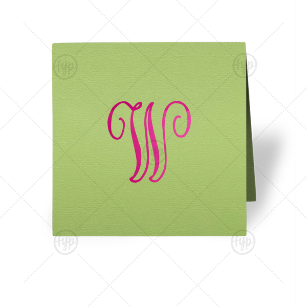 Personalized Poptone Kiwi Tempo Place Card with Shiny Fuchsia Foil are a must-have for your next event—whatever the celebration!