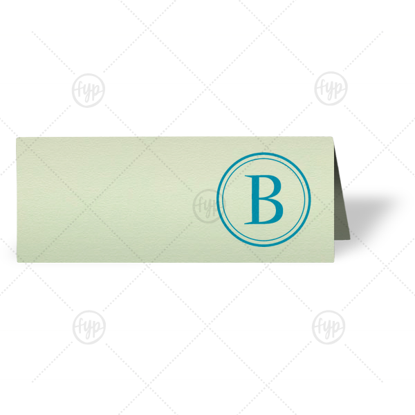 Initial Graphic Place Card | ForYourParty's chic Poptone Mint Runway Place Card with Satin Teal / Peacock Foil has a Circle B graphic and is good for use in Name themed parties and are a must-have for your next event—whatever the celebration!
