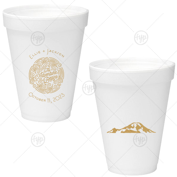 The Adventure Begins Foam Cup | Our beautiful custom Gold Ink 12 oz Foam Cup with Gold Ink Screen Print has a Adventure Swirl graphic and is good for use in Wedding themed parties and can't be beat. Showcase your style in every detail of your party's theme!