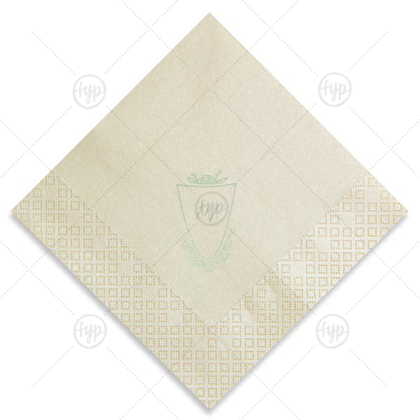 Crest Rose  | Our beautiful custom Ivory Luncheon Napkin with Shiny Green Tea Foil has a Crest Rose graphic and is good for use in Floral, Wedding themed parties and couldn't be more perfect. It's time to show off your impeccable taste.
