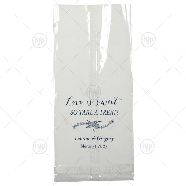 Our personalized Matte Navy Large Cellophane Bag with Matte Navy Foil has a Rose Flourish graphic and is good for use in Floral, Wedding themed parties and can be customized to complement every last detail of your party.