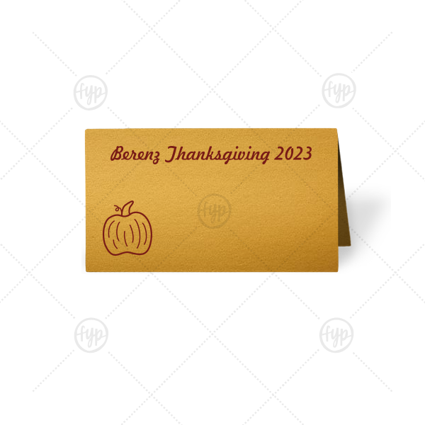 Pumpkin Place Card | ForYourParty's elegant Metallic 18 Karat Matte Gold Signature Place Card with Matte Merlot Foil has a Pumpkin graphic and is good for use in Thanksgiving, Halloween themed parties and can be customized to complement every last detail of your party.