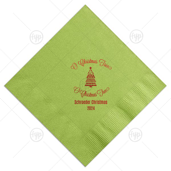 O Christmas Tree Napkin | Personalize Kiwi napkins for beautiful table and barware additions at your Christmas party. Our O Christmas Tree design and clip art make them perfect for a holiday party filled with cheer!