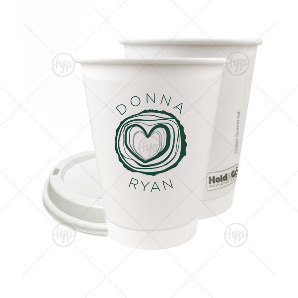 Tree Heart Paper Cup | Custom Matte Spruce 12 oz Paper Coffee Cup with Matte Spruce Screen Print has a Tree Heart graphic and is good for use in Hearts themed parties and will add that special attention to detail that cannot be overlooked.