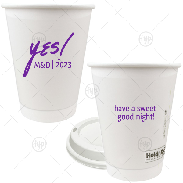 The ever-popular Matte Amethyst Ink 12 oz Paper Coffee Cup with Matte Amethyst Ink Screen Print has a Yes graphic and is good for use in Words themed parties and can't be beat. Showcase your style in every detail of your party's theme!