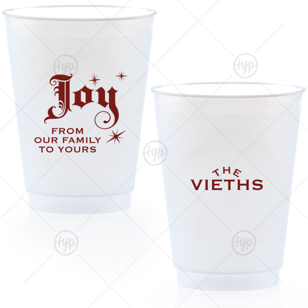 Our custom Matte Merlot Ink 16 oz Frost Flex Cup with Matte Merlot Ink Print Color has a Joy graphic and is good for use in Delphine themed parties and will give your party the personalized touch every host desires.
