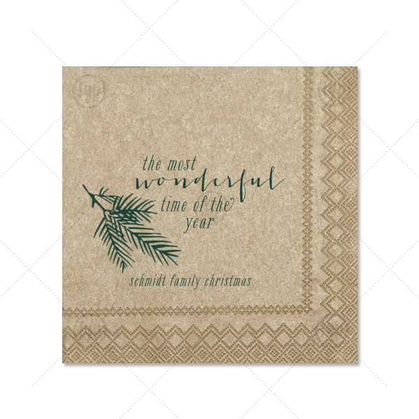 Pine Christmas Napkin | Personalize this Champagne napkin with Matte Spruce foil color for a festive napkin to add to your Christmas party. Our Pine Branch graphic gives just the right trendy touch that every host desires!