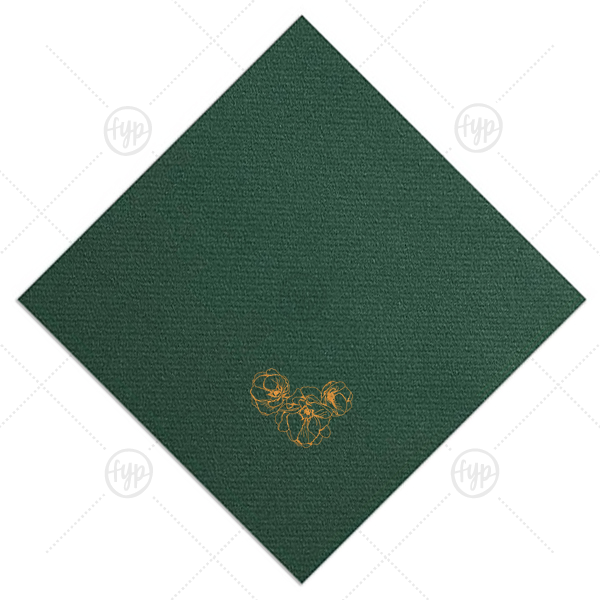 Flower Trio Napkin | ForYourParty's elegant Hunter Green Cocktail Napkin with Shiny Copper Foil has a Flower Trio graphic and is good for use in Floral, Wedding, Rustic, themed parties and can be personalized to match your party's exact theme and tempo.