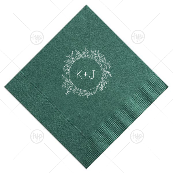 Peony Circle Frame Napkin | Our custom Sand Cocktail Napkin with Shiny Green Tea Foil has a Peony Circle Frame graphic and is good for use in Floral, Rustic, Wedding themed parties and will look fabulous with your unique touch. Your guests will agree!