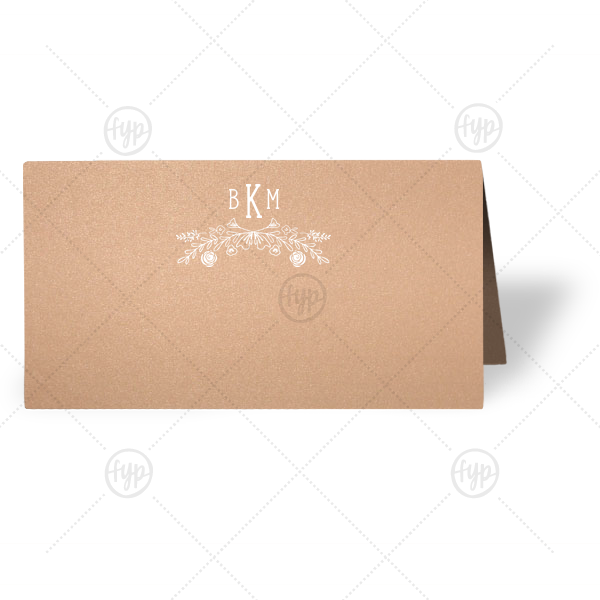 Rose Laurel Monogram Place Card | ForYourParty's chic Stardream Rose Gold Classic Place Card with Matte White Foil has a Rose Laurel graphic and is good for use in Wedding, Floral themed parties and will give your party the personalized touch every host desires.