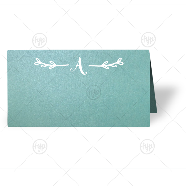 Painterly Leaf Place Card | Our custom Stardream Chambray Classic Place Card with Matte White Foil has a Leaf Single Initial graphic and is good for use in Floral, Greens themed parties and are a must-have for your next event—whatever the celebration!