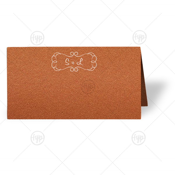 Ornate Frame Place Card | ForYourParty's chic Stardream Copper Classic Place Card with Matte White Foil has a Ornate Frame graphic and is good for use in Chic parties and can't be beat. Showcase your style in every detail of your party's theme!